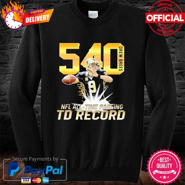 540 Drew Brees NFL All-time passing to record long sleeve black