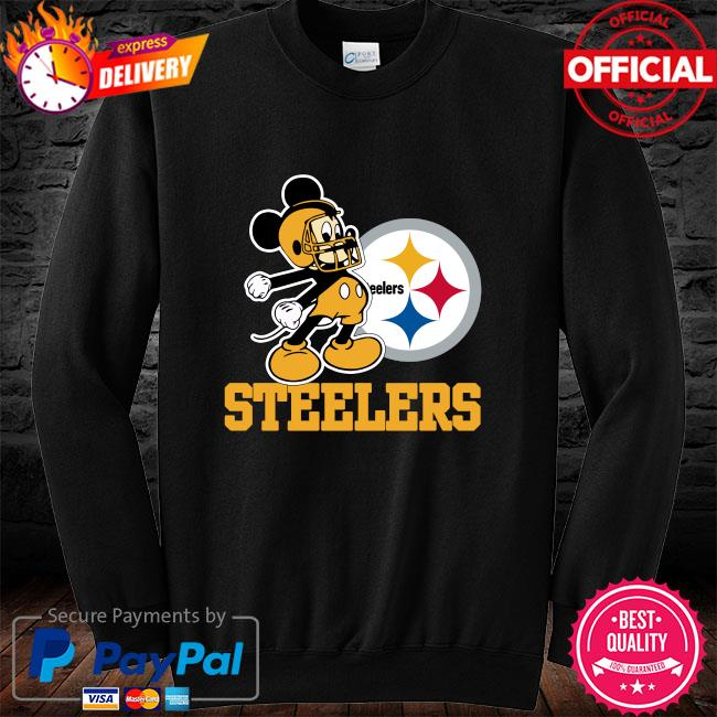 Mickey Mouse Pittsburgh Steelers Football Logo Team long sleeve black