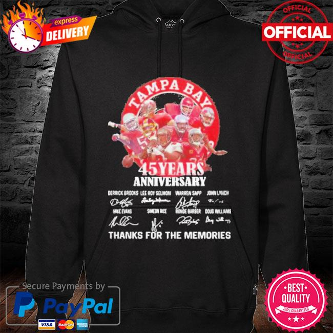 Tampa Bay Buccaneers 45 Years Anniversary Thank You For The Memories Signatures New Shirt hoodie black