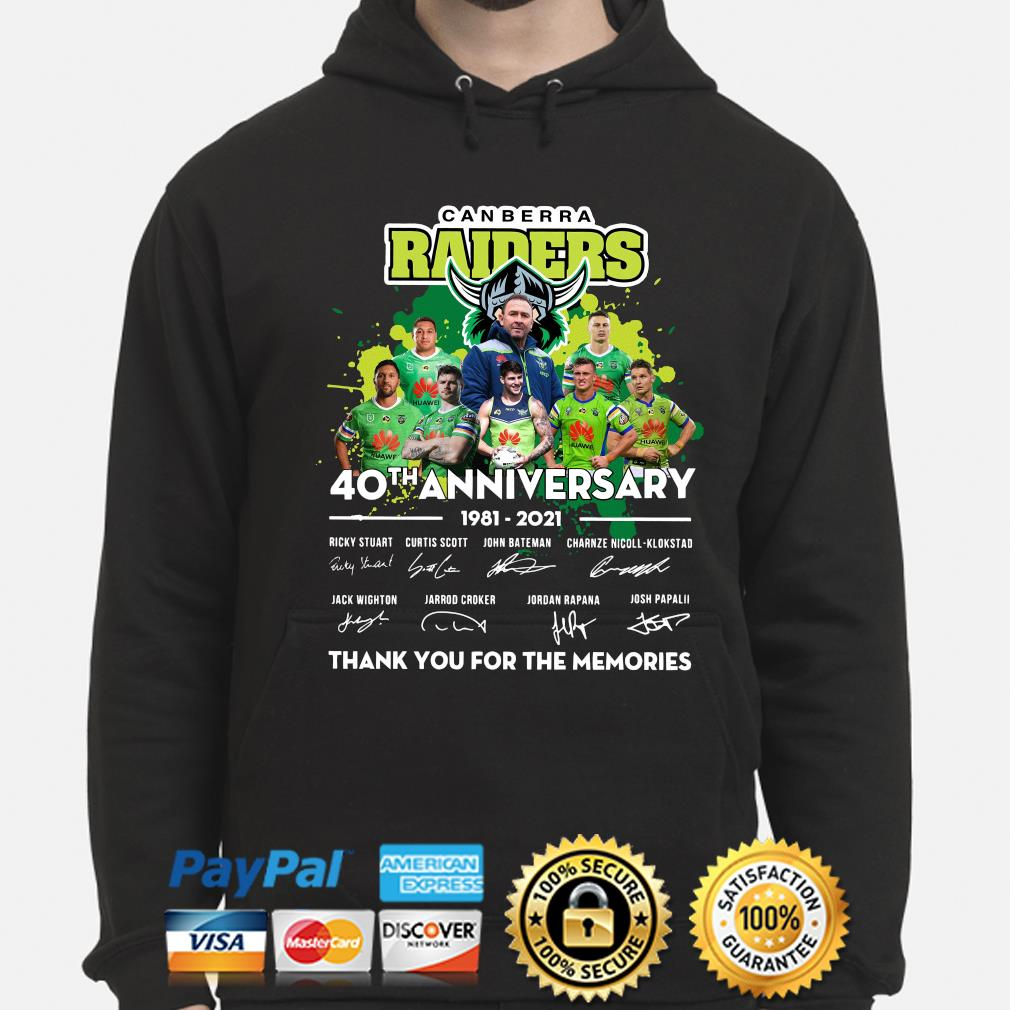 Canberra Raiders 40th anniversary thank you for the memories s hoodie
