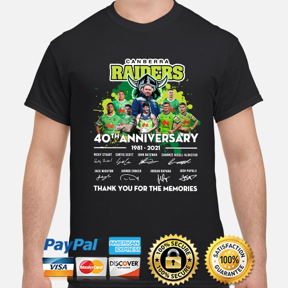 Canberra Raiders 40th anniversary thank you for the memories shirt