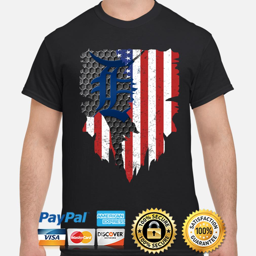 Detroit Tigers Inside American Flag Shirt
