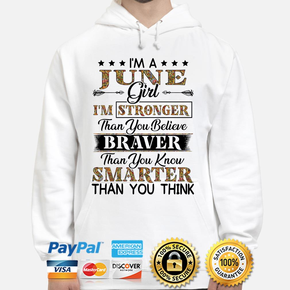 I'm a june girl I'm stronger than you believe Smarter than you think s hoodie