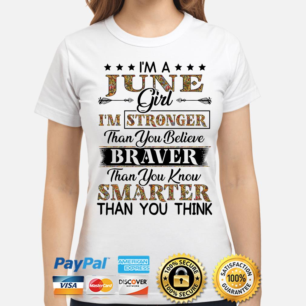 I'm a june girl I'm stronger than you believe Smarter than you think s ladies-shirt