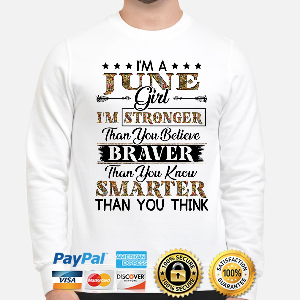 I'm a june girl I'm stronger than you believe Smarter than you think s sweater