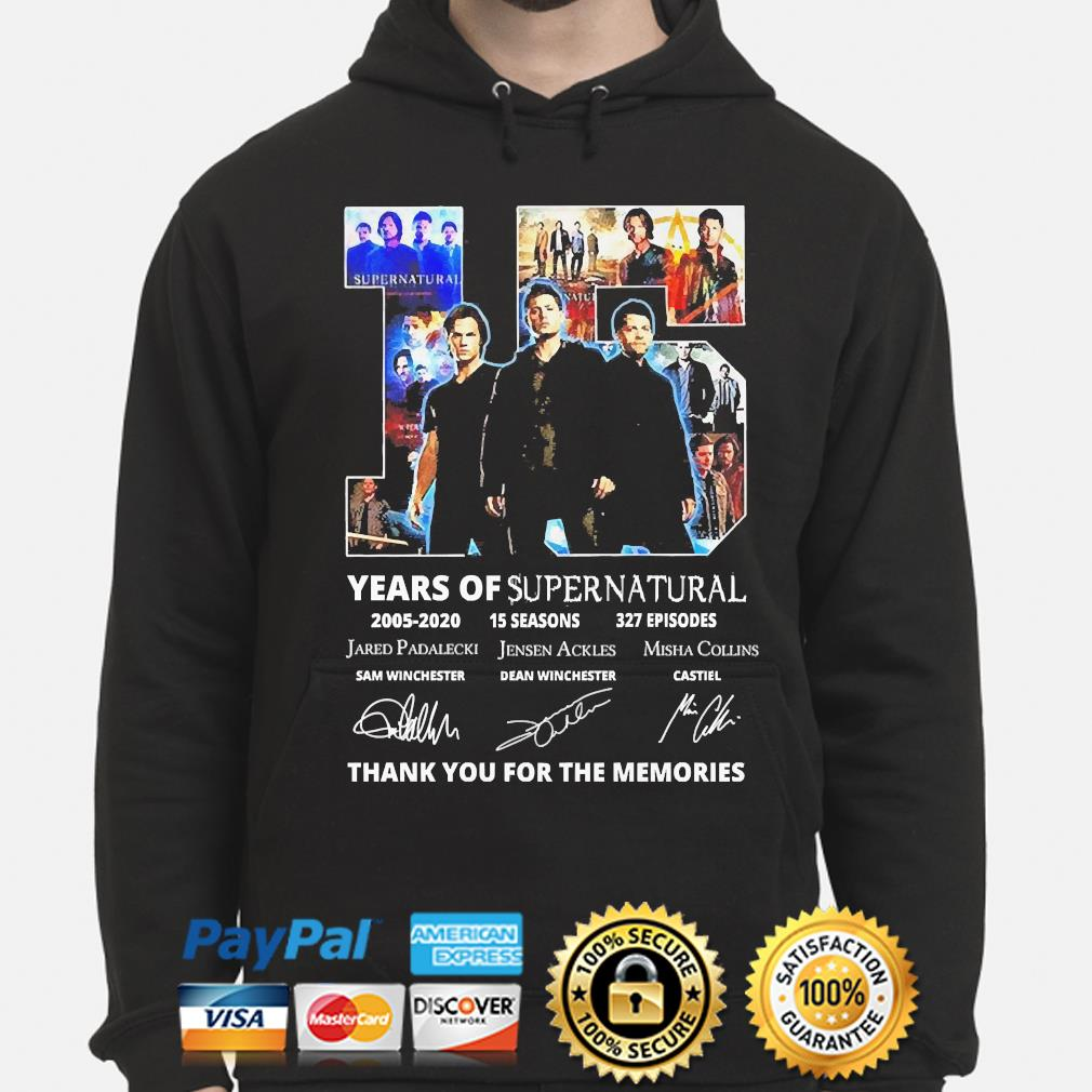 15 years of supernatural thank you for the memories signature s hoodie