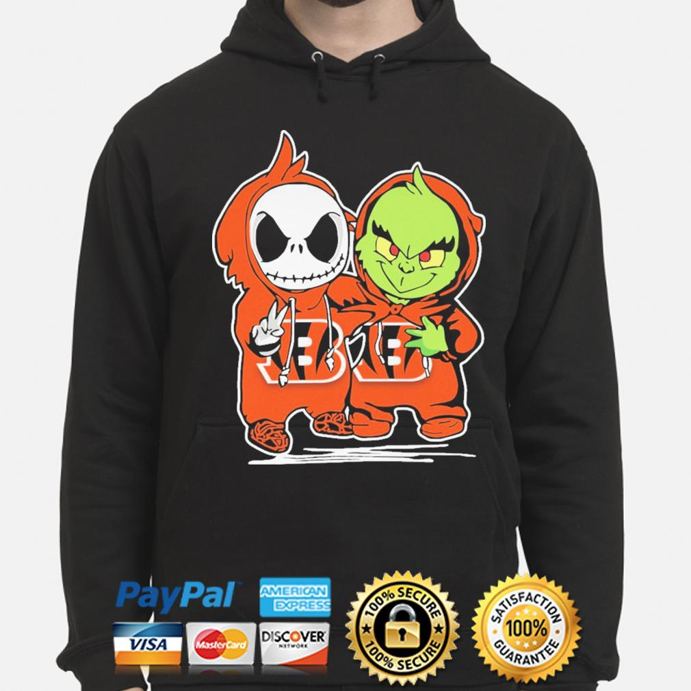 Baby Jack Skellington and baby Grinch Bengals Baseball s hoodie