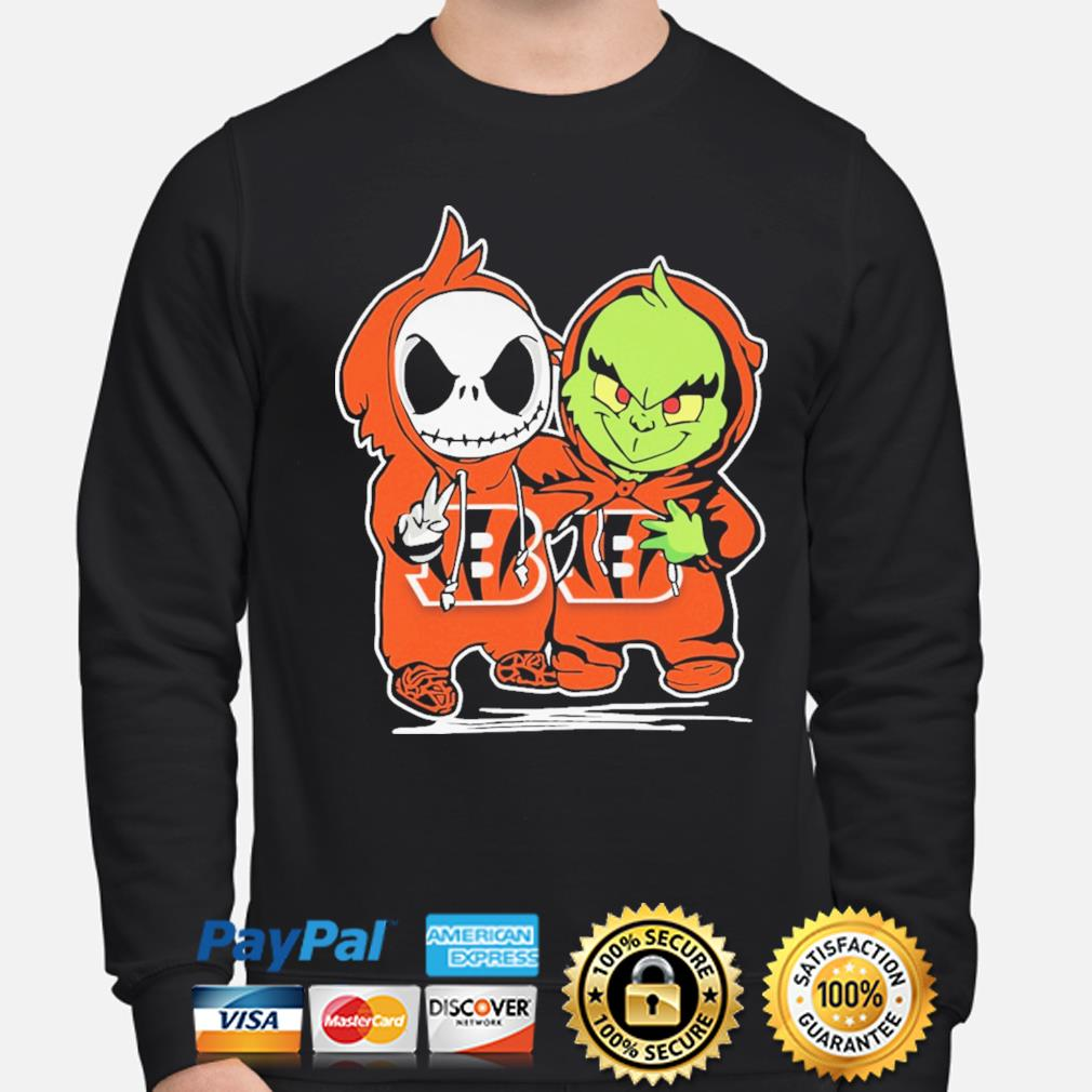 Baby Jack Skellington and baby Grinch Bengals Baseball s sweater