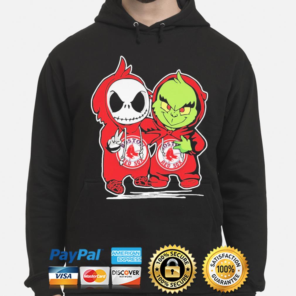 Baby Jack Skellington and baby Grinch Boston Red Sox Baseball s hoodie