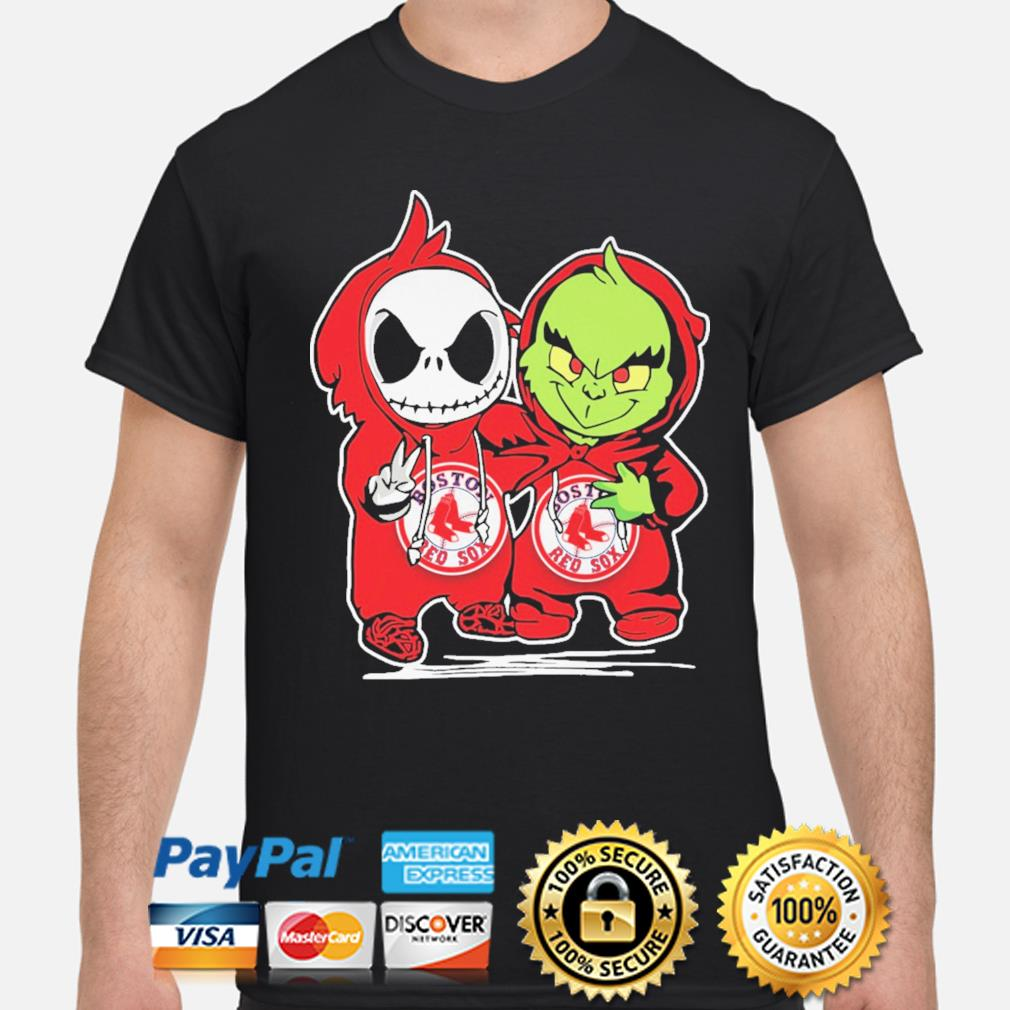 Baby Jack Skellington and baby Grinch Boston Red Sox Baseball shirt