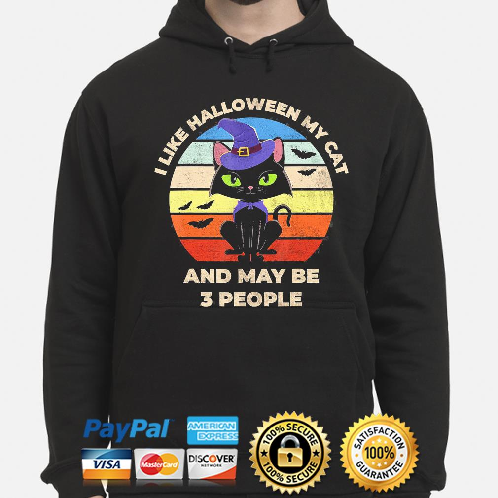 witch I like Halloween Cat and may be 3 people vintage s hoodie