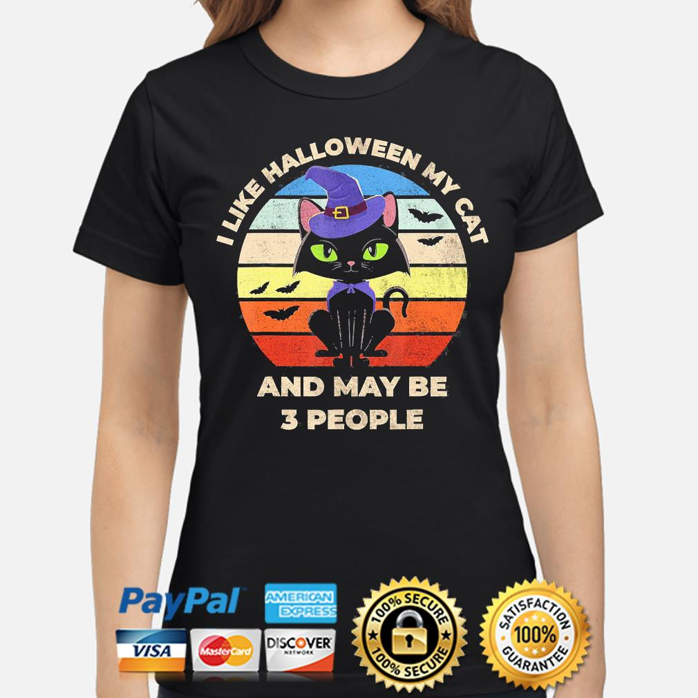 witch I like Halloween Cat and may be 3 people vintage s ladies-shirt