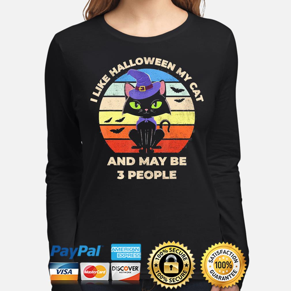 witch I like Halloween Cat and may be 3 people vintage s long-sleeve