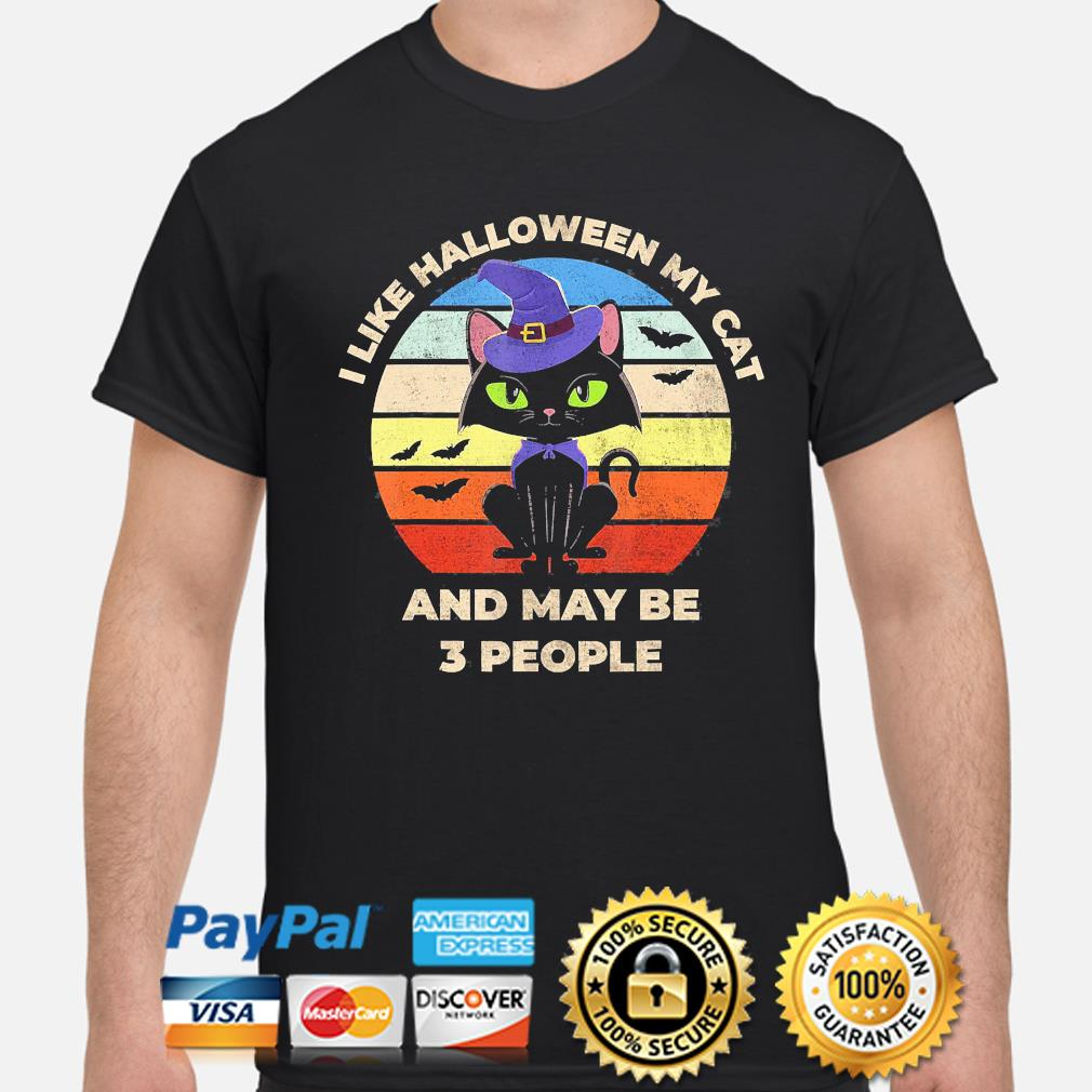 witch I like Halloween Cat and may be 3 people vintage shirt
